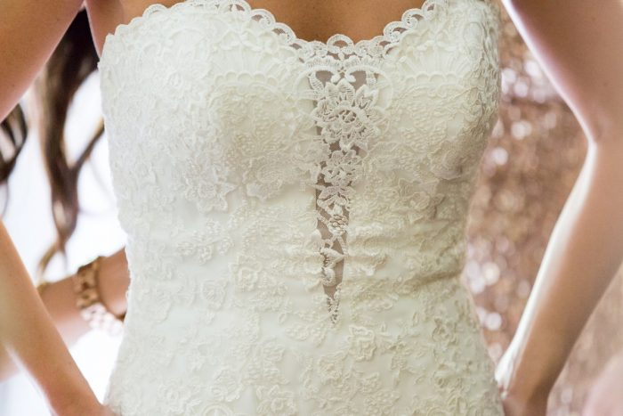Lace Wedding Dress: Elegant Blush & Gold Wedding from Annie O'Neil Photography featured on Burgh Brides