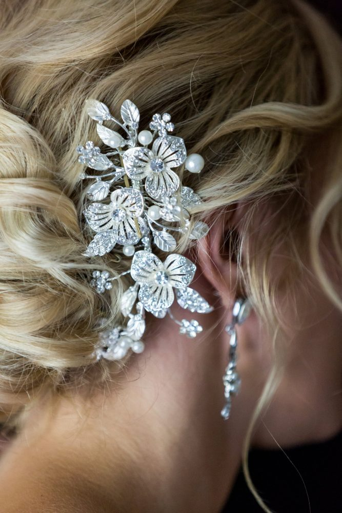 Rhinestone Bridal Hair Piece: Elegant Blush & Gold Wedding from Annie O'Neil Photography featured on Burgh Brides
