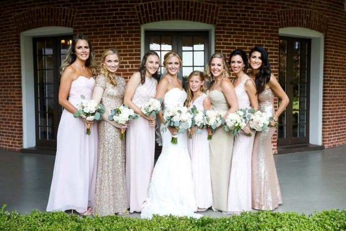 Mismatched Pink and Gold Sequin Bridesmaids Dresses: Elegant Blush & Gold Wedding from Annie O'Neil Photography featured on Burgh Brides
