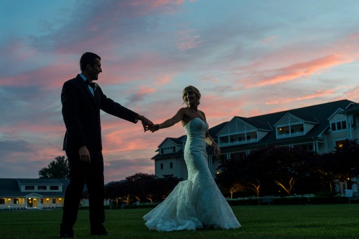 Sunset Wedding Photos: Elegant Blush & Gold Wedding from Annie O'Neil Photography featured on Burgh Brides
