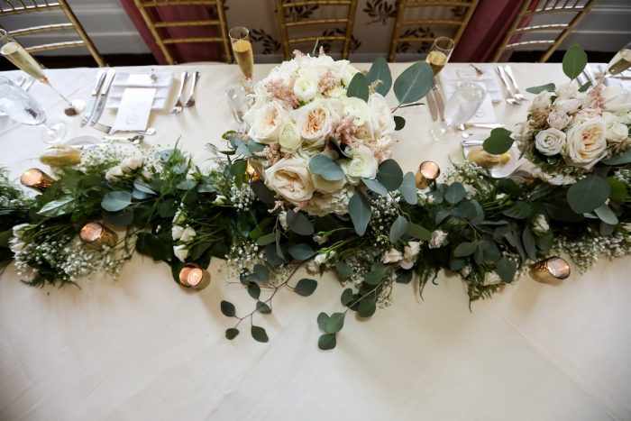 Kings Table Greenery Runner at Wedding: Elegant Blush & Gold Wedding from Annie O'Neil Photography featured on Burgh Brides