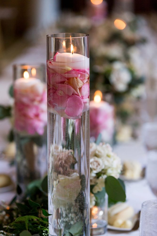 Floating Candles Centerpieces: Elegant Blush & Gold Wedding from Annie O'Neil Photography featured on Burgh Brides