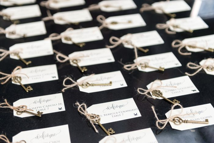 Antique Skeleton Key Escort Cards at Wedding: Elegant Blush & Gold Wedding from Annie O'Neil Photography featured on Burgh Brides