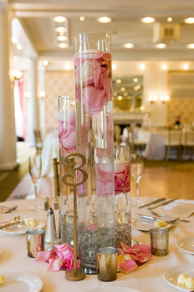 Floating Candles and Rose Petals Wedding Centerpieces: Elegant Blush & Gold Wedding from Annie O'Neil Photography featured on Burgh Brides