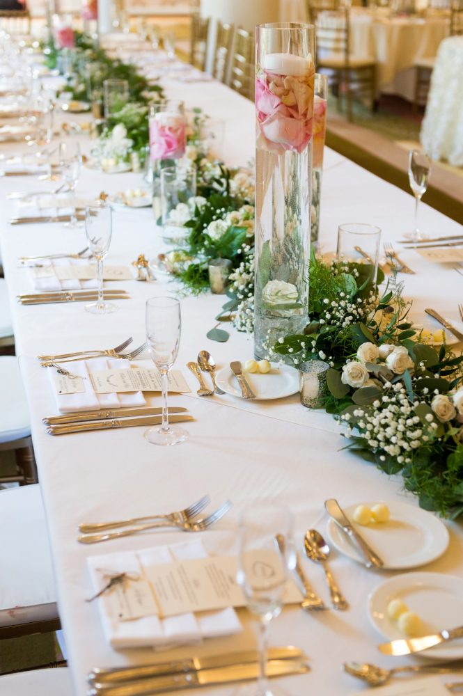 Greenery Table Runner at Wedding: Elegant Blush & Gold Wedding from Annie O'Neil Photography featured on Burgh Brides