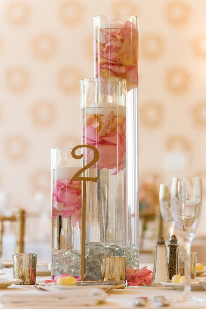 Floating Candle and Rose Petal Wedding Centerpiece: Elegant Blush & Gold Wedding from Annie O'Neil Photography featured on Burgh Brides