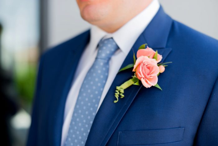 Navy Blue Groom Wedding Day Suit with Peach Boutonniere: Fresh Navy & Peach Wedding from Leeann Marie, Wedding Photographers featured on Burgh Brides