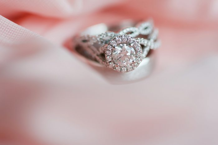 Round Diamond Engagement Ring in Halo Setting: Fresh Navy & Peach Wedding from Leeann Marie, Wedding Photographers featured on Burgh Brides