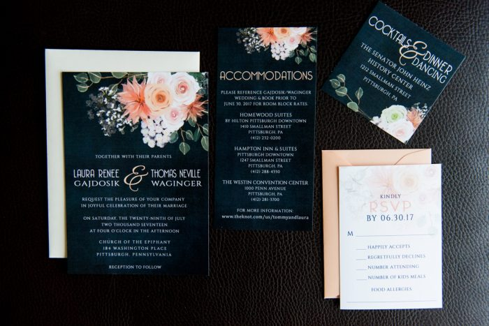 Peach and Navy Floral Wedding Invitations: Fresh Navy & Peach Wedding from Leeann Marie, Wedding Photographers featured on Burgh Brides