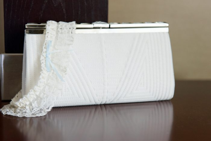 Pleated Wedding Day Bridal Clutch: Fresh Navy & Peach Wedding from Leeann Marie, Wedding Photographers featured on Burgh Brides