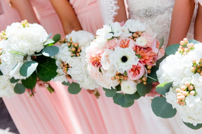 Pink, Peach, and White Wedding Day Bridal Bouquet: Fresh Navy & Peach Wedding from Leeann Marie, Wedding Photographers featured on Burgh Brides