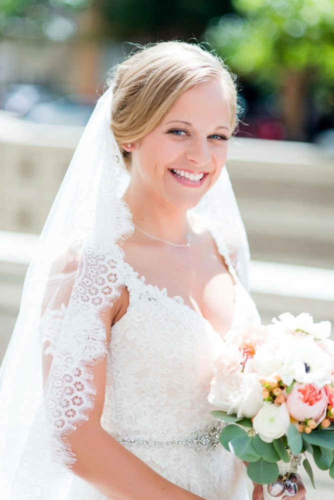 Lace Bridal Veil: Fresh Navy & Peach Wedding from Leeann Marie, Wedding Photographers featured on Burgh Brides