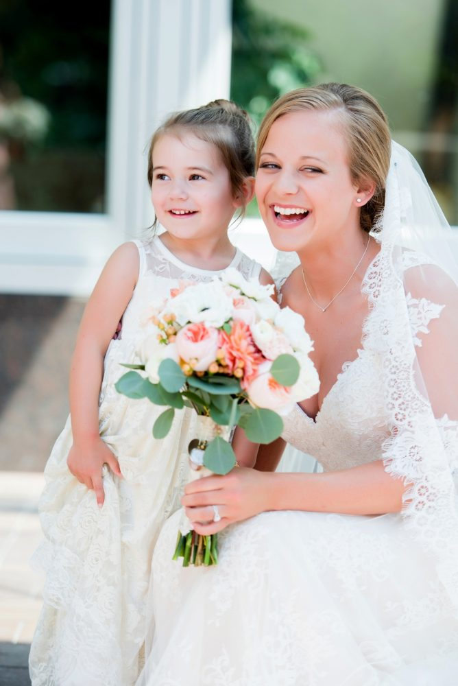 Bride and Flower Girl: Fresh Navy & Peach Wedding from Leeann Marie, Wedding Photographers featured on Burgh Brides