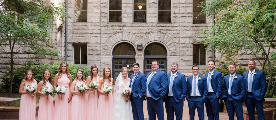 Fresh Navy & Peach Wedding at the History Center: Laura & Tommy