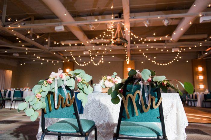 Mr and Mrs Bride and Groom Wedding Reception Chair Decor: Fresh Navy & Peach Wedding from Leeann Marie, Wedding Photographers featured on Burgh Brides