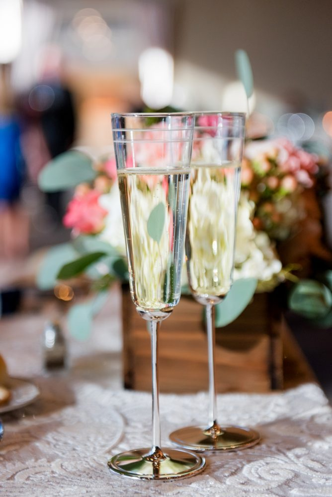 Wedding Day Champagne Flutes: Fresh Navy & Peach Wedding from Leeann Marie, Wedding Photographers featured on Burgh Brides