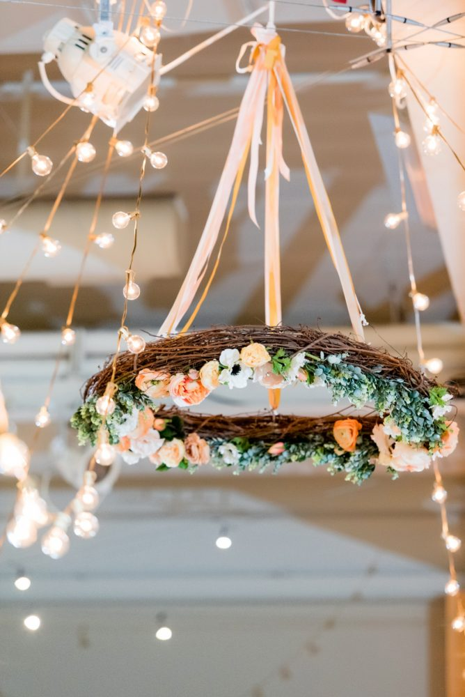 Hanging Floral Chandelier at Wedding: Fresh Navy & Peach Wedding from Leeann Marie, Wedding Photographers featured on Burgh Brides
