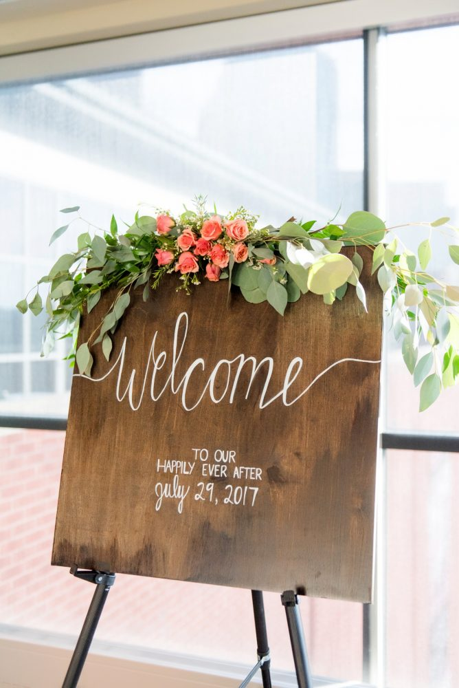 Wooden Wedding Signs: Fresh Navy & Peach Wedding from Leeann Marie, Wedding Photographers featured on Burgh Brides
