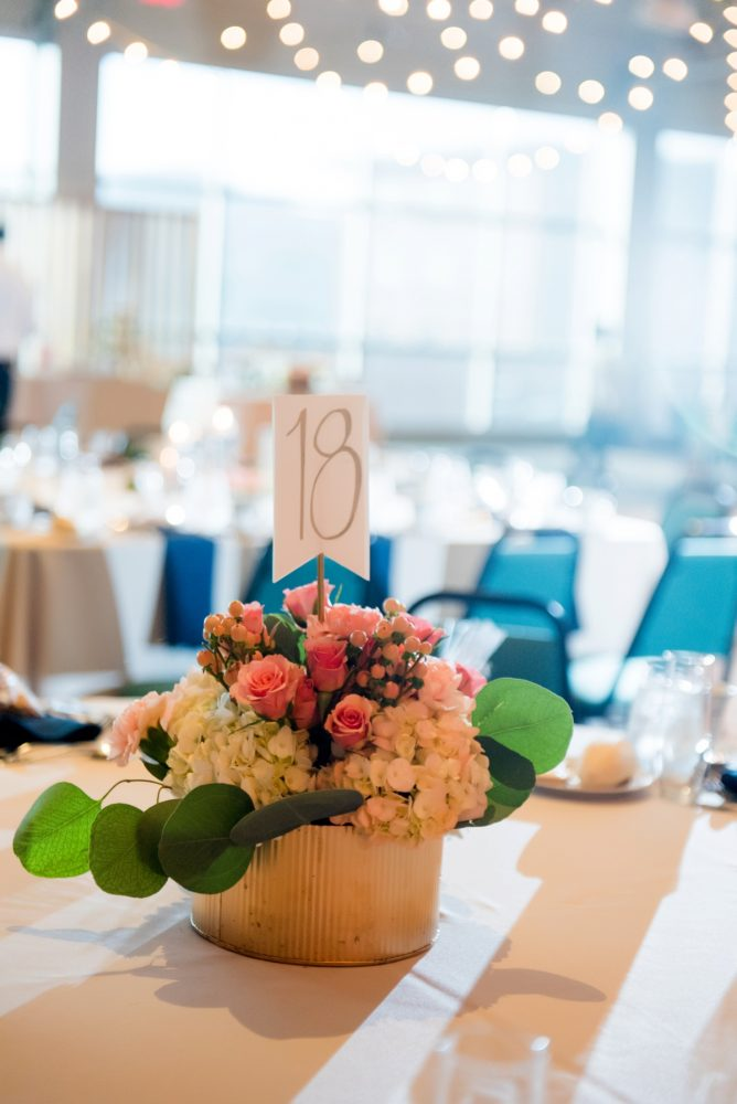 Peach and White Floral Wedding Centerpieces: Fresh Navy & Peach Wedding from Leeann Marie, Wedding Photographers featured on Burgh Brides