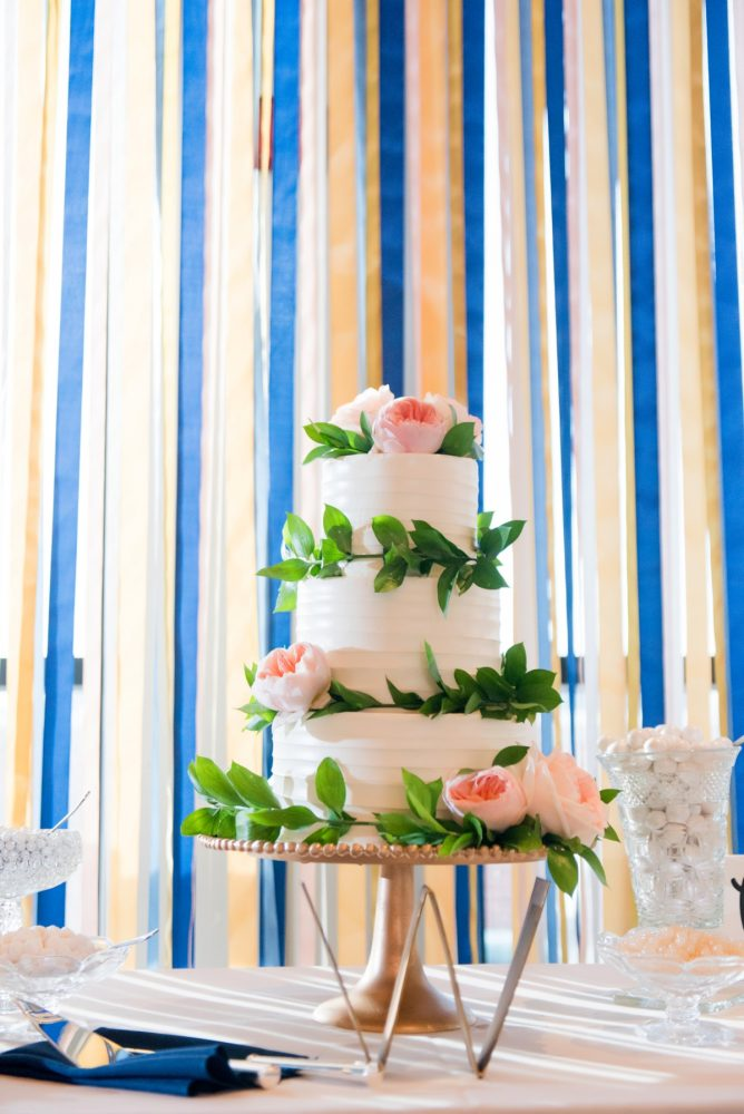 White Buttercream Wedding Cake: Fresh Navy & Peach Wedding from Leeann Marie, Wedding Photographers featured on Burgh Brides