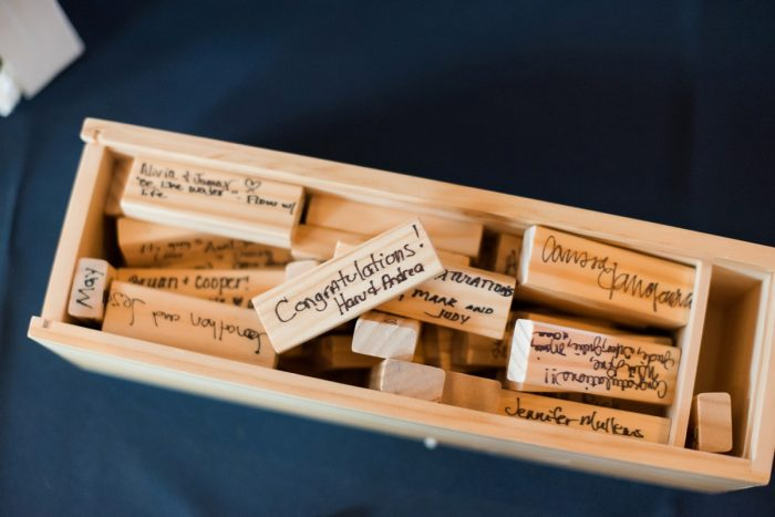 Jenga Wedding Guest Book: Fresh Navy & Peach Wedding from Leeann Marie, Wedding Photographers featured on Burgh Brides