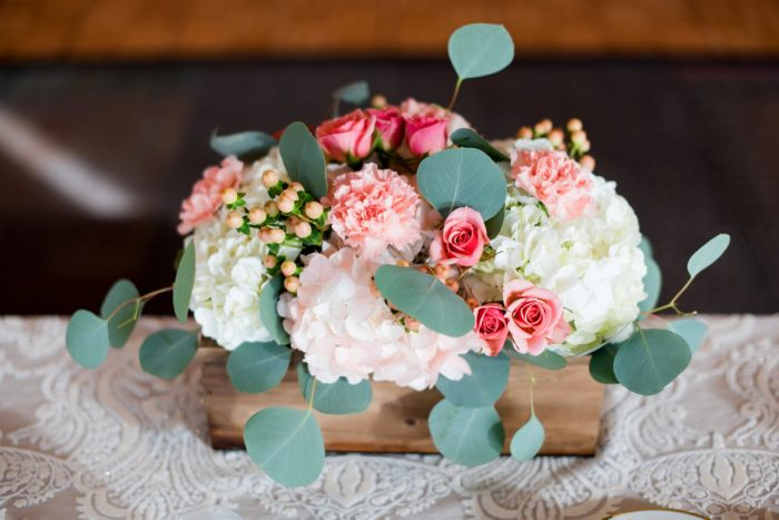 Pink and Peach Rustic Wedding Centerpieces: Fresh Navy & Peach Wedding from Leeann Marie, Wedding Photographers featured on Burgh Brides