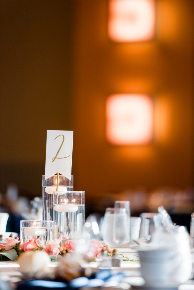 Golden Table Numbers: Fresh Navy & Peach Wedding from Leeann Marie, Wedding Photographers featured on Burgh Brides
