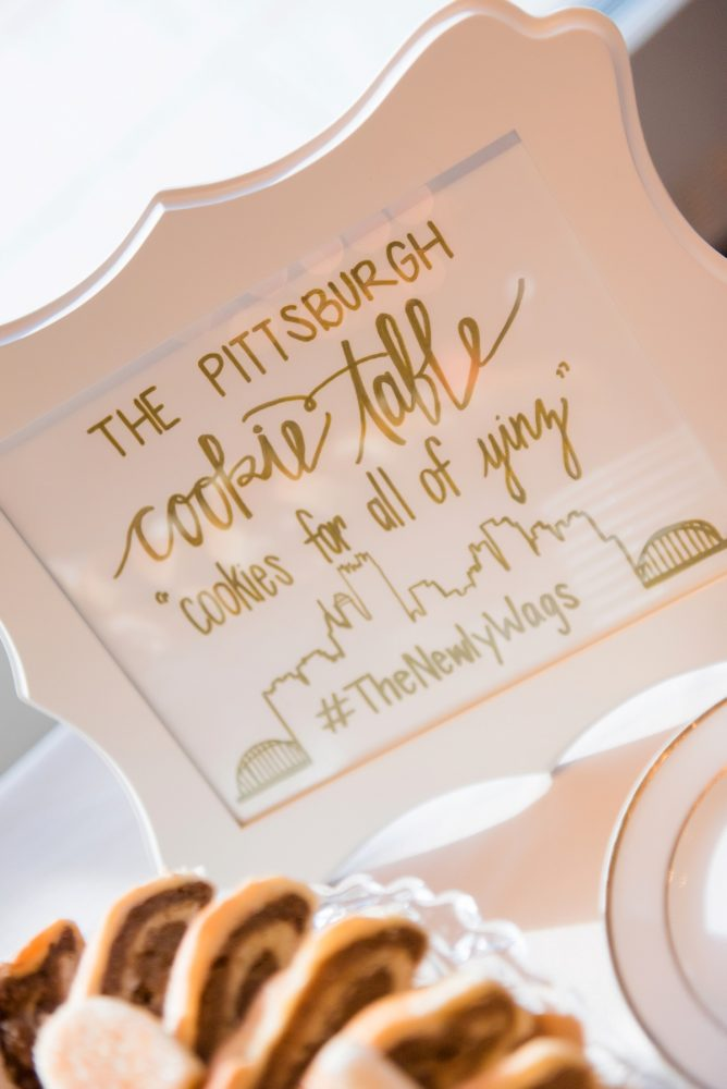 Pittsburgh Cookie Table Sign: Fresh Navy & Peach Wedding from Leeann Marie, Wedding Photographers featured on Burgh Brides