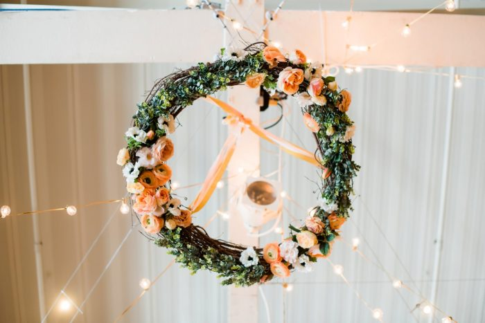 Hanging Wedding Day Floral Chandelier: Fresh Navy & Peach Wedding from Leeann Marie, Wedding Photographers featured on Burgh Brides