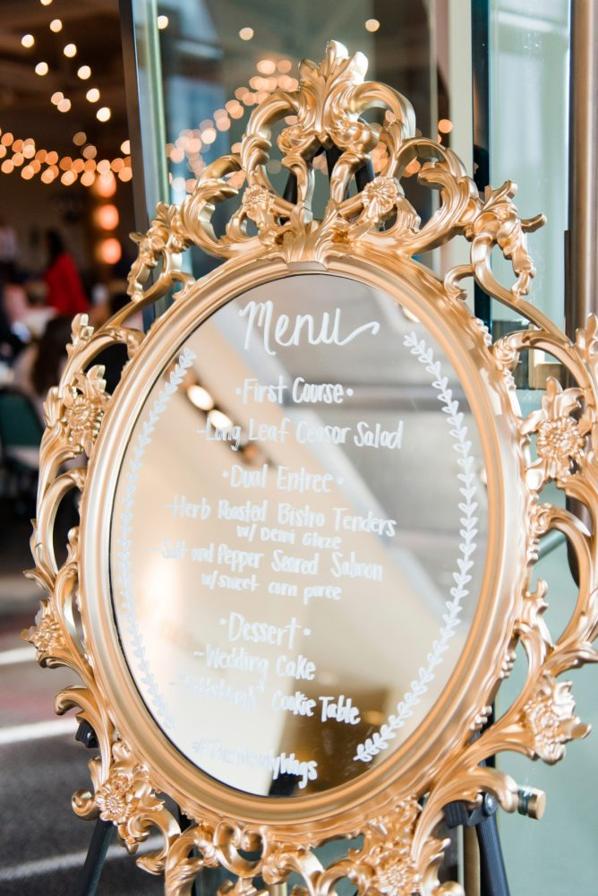 Golden Mirror Wedding Menu Sign: Fresh Navy & Peach Wedding from Leeann Marie, Wedding Photographers featured on Burgh Brides
