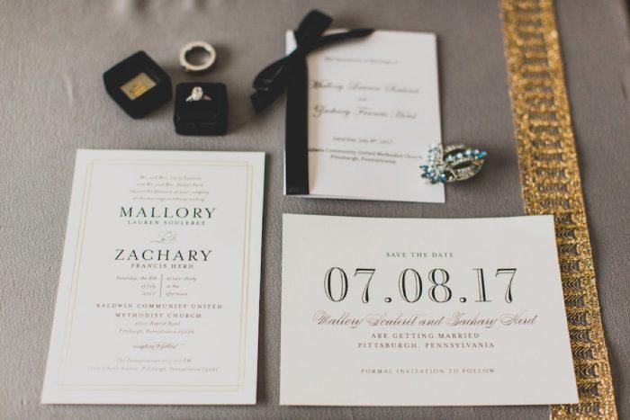 Black & Ivory Wedding Invitations: Modern Chic Wedding from Ryan Zarichnak Photography Featured on Burgh Brides