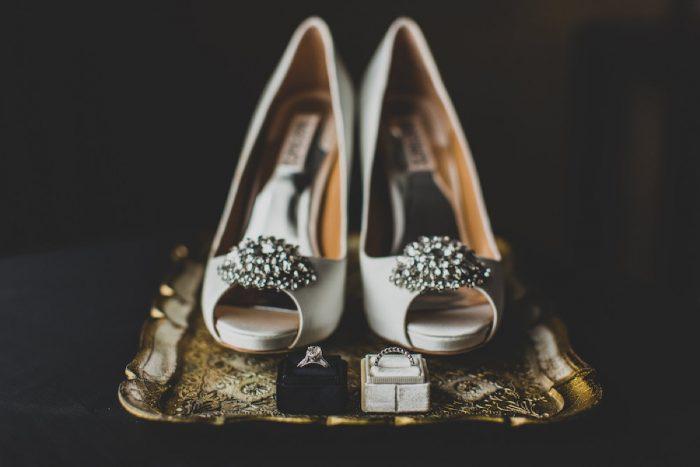 Ivory Rhinestone Peep Toe Wedding Shoes: Modern Chic Wedding from Ryan Zarichnak Photography Featured on Burgh Brides