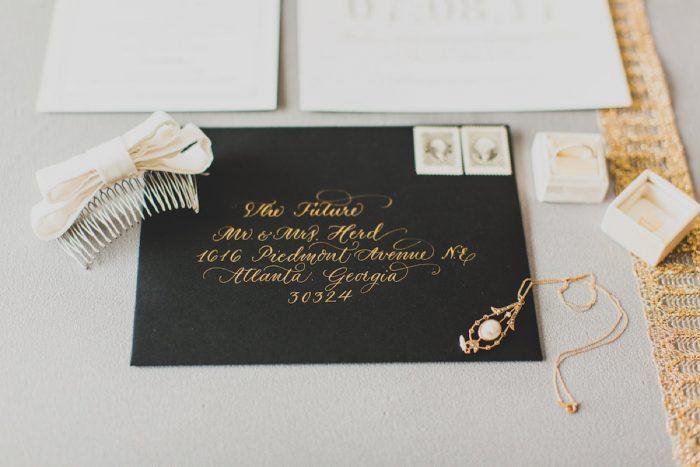Gold Calligraphy Wedding Invitations: Modern Chic Wedding from Ryan Zarichnak Photography Featured on Burgh Brides