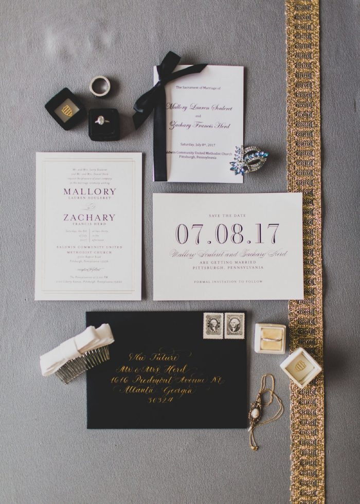 Black, Ivory, & Gold Wedding Invitations: Modern Chic Wedding from Ryan Zarichnak Photography Featured on Burgh Brides