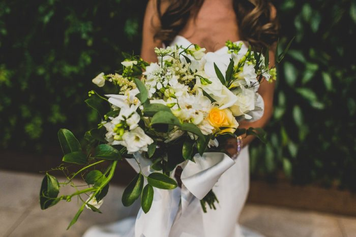Green and White Bridal Bouquet: Modern Chic Wedding from Ryan Zarichnak Photography Featured on Burgh Brides