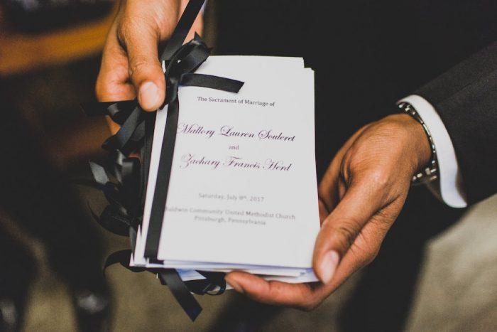 Wedding Ceremony Program Ideas: Modern Chic Wedding from Ryan Zarichnak Photography Featured on Burgh Brides