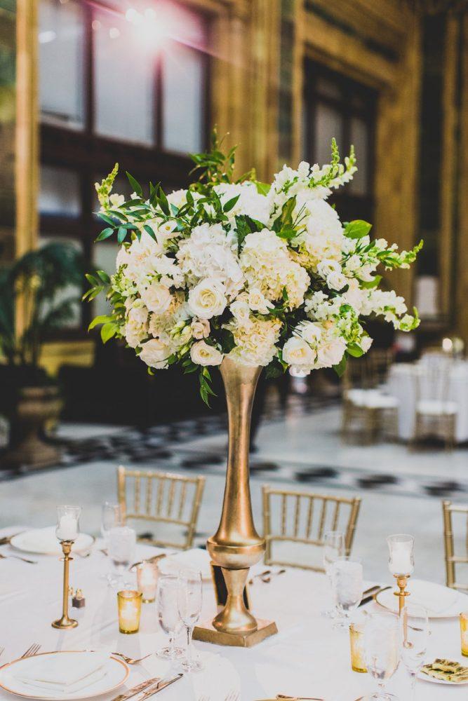 White and Green Wedding Flower Centerpieces Gold Stand: Modern Chic Wedding from Ryan Zarichnak Photography Featured on Burgh Brides