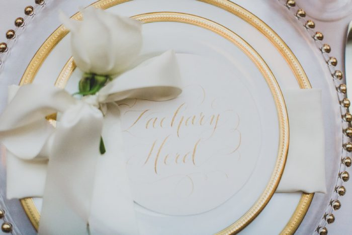 Gold and Ivory Calligraphy Tablescape Place Setting: Modern Chic Wedding from Ryan Zarichnak Photography Featured on Burgh Brides