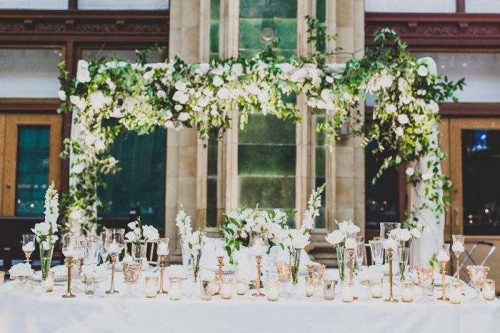 White and Green Wedding Flower Centerpieces Sweetheart Table Decor: Modern Chic Wedding from Ryan Zarichnak Photography Featured on Burgh Brides