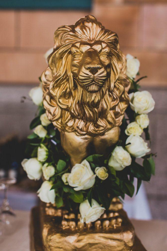 Gold Lion Wedding Decor: Modern Chic Wedding from Ryan Zarichnak Photography Featured on Burgh Brides
