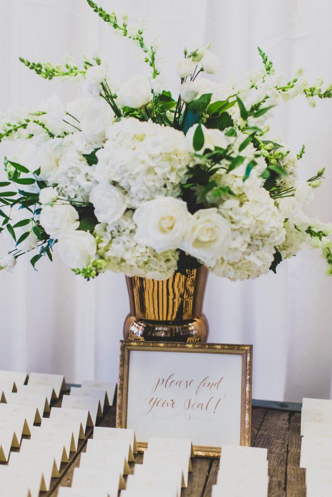 White and Green Wedding Flower Escort Card Table Decor: Modern Chic Wedding from Ryan Zarichnak Photography Featured on Burgh Brides