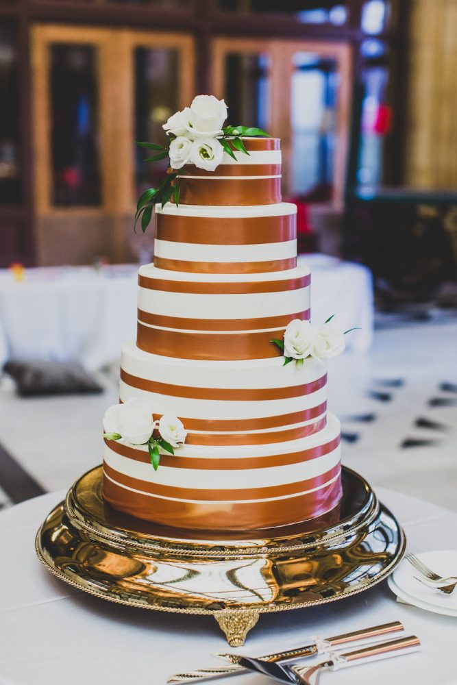 White and Gold Wedding Cake Table: Modern Chic Wedding from Ryan Zarichnak Photography Featured on Burgh Brides