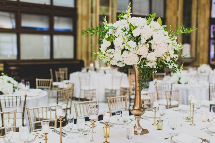 White and Green Wedding Flowers Gold Stand Centerpieces: Modern Chic Wedding from Ryan Zarichnak Photography Featured on Burgh Brides