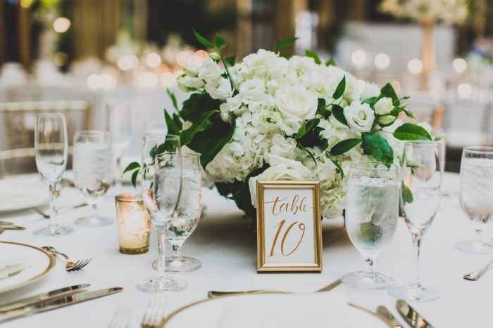 Gold Framed Wedding Table Numbers Decor: Modern Chic Wedding from Ryan Zarichnak Photography Featured on Burgh Brides