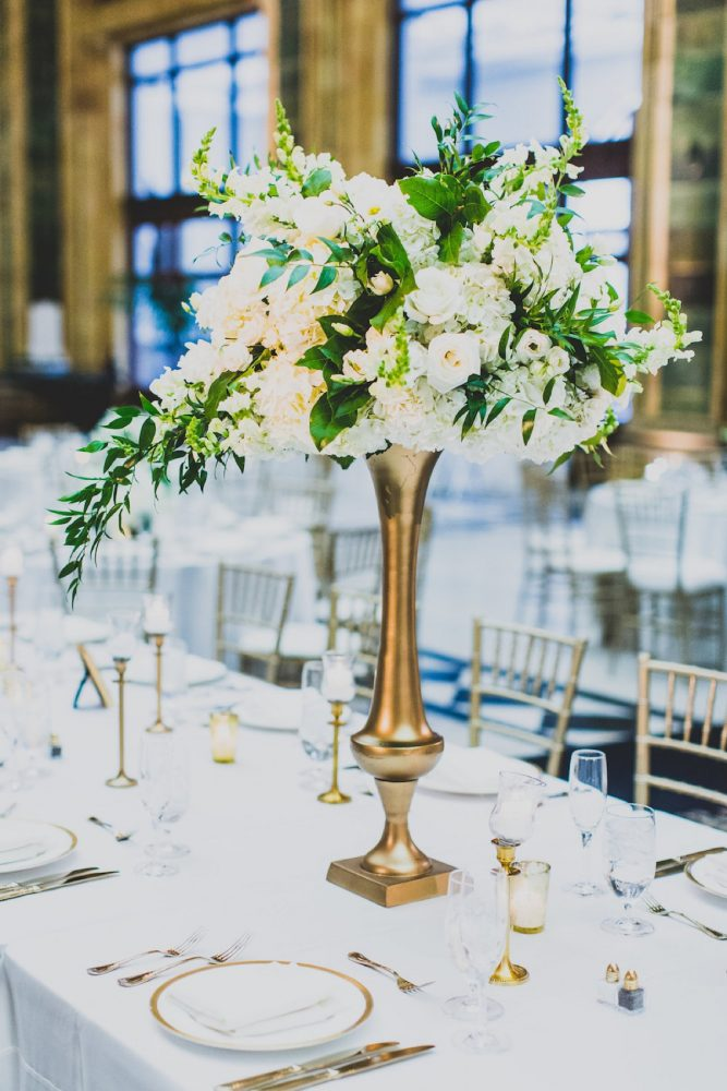 White and Green Wedding Day Flowers Gold Stand: Modern Chic Wedding from Ryan Zarichnak Photography Featured on Burgh Brides
