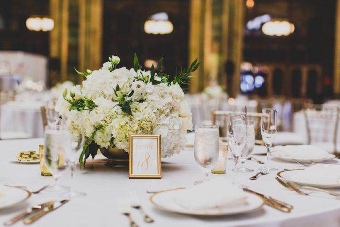 White and Green Wedding Flower Centerpieces: Modern Chic Wedding from Ryan Zarichnak Photography Featured on Burgh Brides