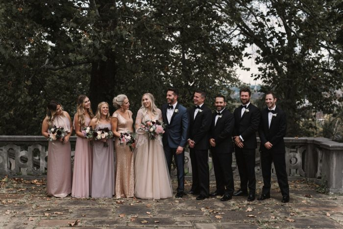 Mismatched Bridesmaids Dresses: Modern Fairy Tale Inspired Wedding from Whitling Photography featured on Burgh Brides