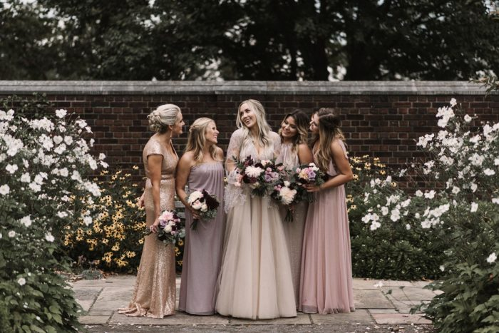 Pink and Purple Mismatched Bridesmaids Dresses: Modern Fairy Tale Inspired Wedding from Whitling Photography featured on Burgh Brides
