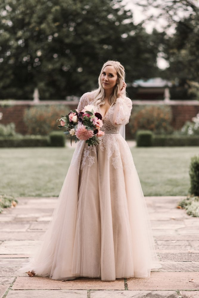 Long Sleeve Hayley Paige Wedding Dress: Modern Fairy Tale Inspired Wedding from Whitling Photography featured on Burgh Brides