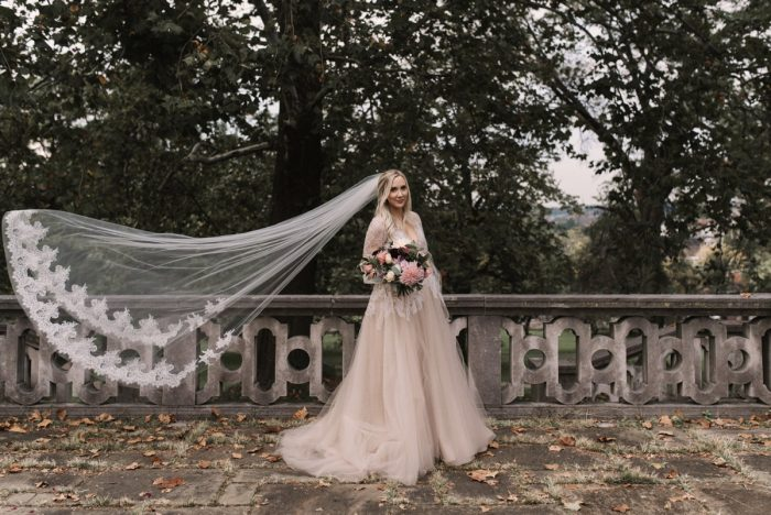 Lace Cathedral Veil: Modern Fairy Tale Inspired Wedding from Whitling Photography featured on Burgh Brides